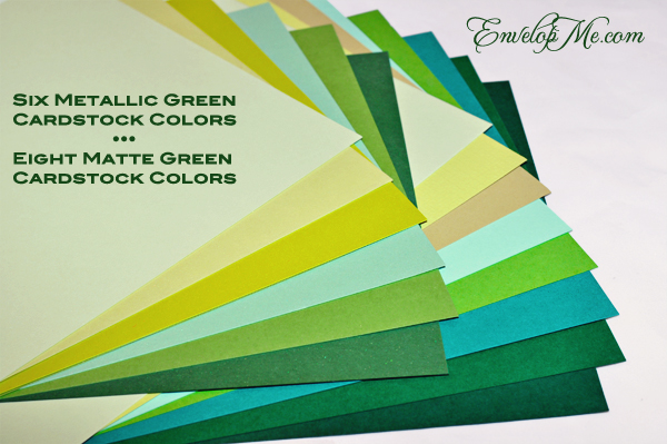 The many green cardstock options available at www.envelopme.com