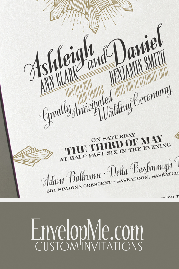 Art Deco wedding invitation by EnvelopMe.com
