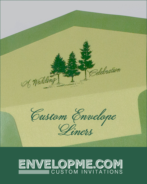 Pine Tree Wedding Envelope Liner - www.envelopme.com