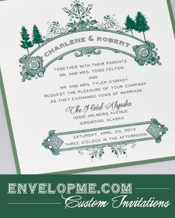 Green & White Pine Tree Invitations - www.envelopme.com