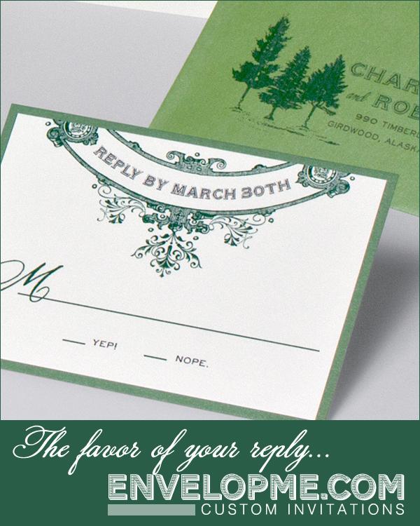 Pine Tree Wedding Invitation RSVP - www.envelopme.com