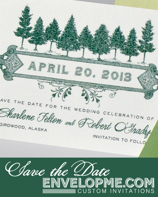Pine Tree Save the Date - www.envelopme.com