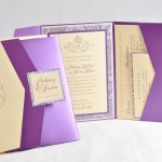 DIY Elegant Royal Purple Pocketfold Invitation features a rhinestone - EnvelopMe.com