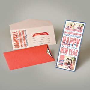 A fun, blue & red layered photo greeting in a bright portable pocket - EnvelopMe.com