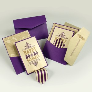 Purple & Gold Holiday/Christmas Pocket Card - EnvelopMe.com
