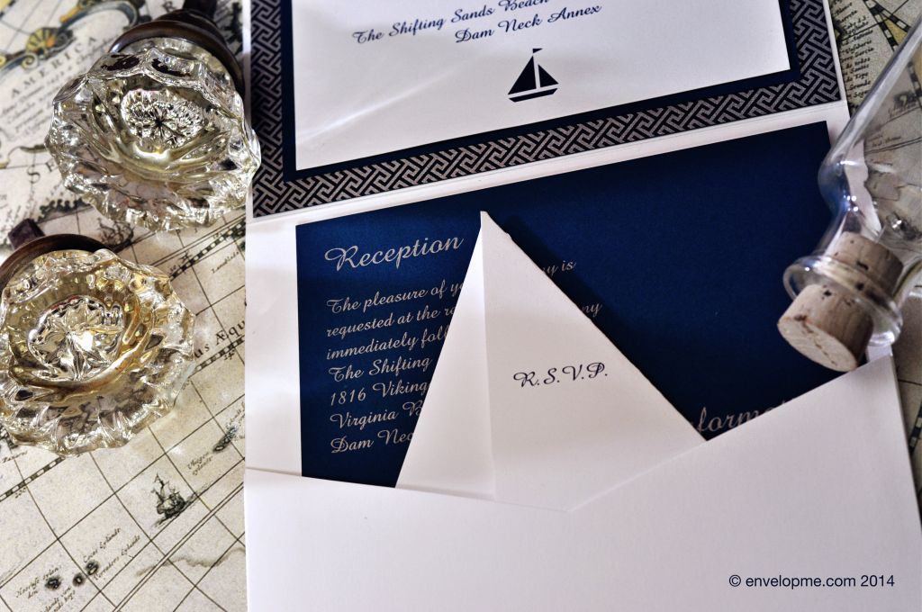 Nautical Pocket Fold Wedding Invitation - EnvelopMe.com