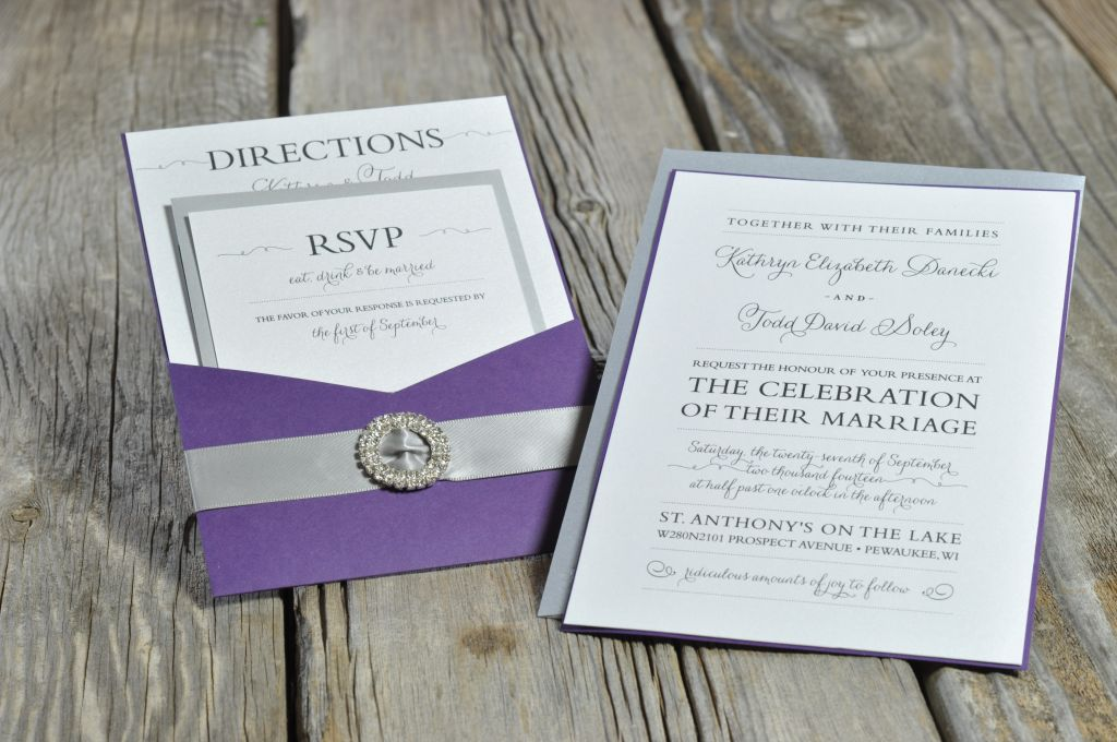 Elegant Pocket Card Wedding Invitation Envelopme Com