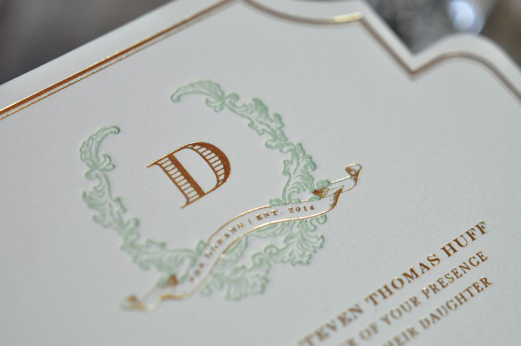 the invitation stands out with a custom die cut shape and features stunning hand calligraphy for the names the whole suite was created by one of our - Mint And Gold Wedding Invitations
