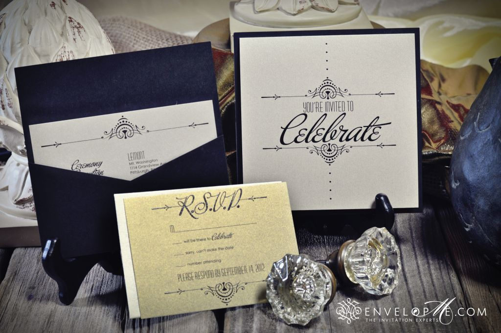 Custom Pocket Card Wedding Invitation