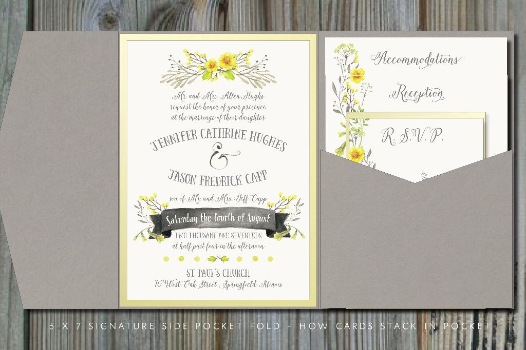 summery yellow  u0026 gray pocket fold wedding invitation
